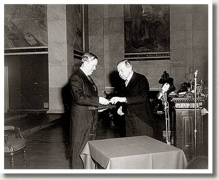 Lester B. Pearson Accepts Nobel Peace Prize, Norway, December 1957.