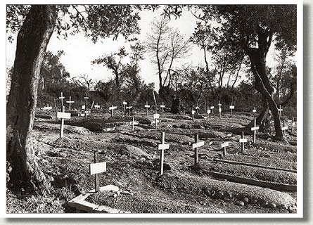 Graves of Loyal Edmonton Regiment Soldiers Killed in Battle of Ortona, Italy, 7 January 1944.