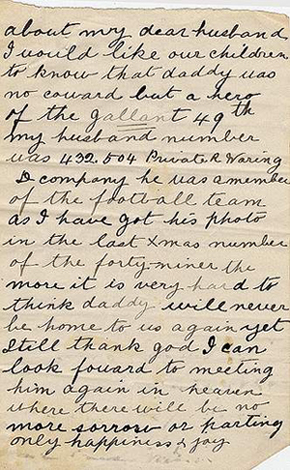 Letter from Mrs. R. Waring to Lieutenant-Colonel W.A. Griesbach, 2 October 1916.